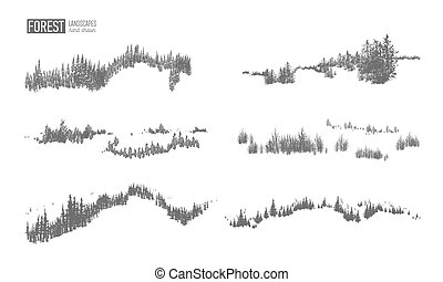 Collection of evergreen forest landscapes with silhouettes of coniferous trees growing on hills hand drawn in black and white colors. Natural monochrome decorative elements. Vector illustration