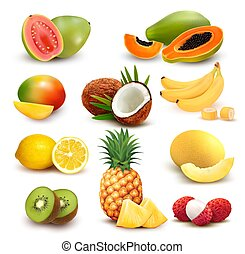 Collection of exotic fruit and berries. Papaya, guava, limon...