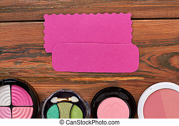 Collection of eyeshadows, top view.