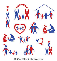 Collection of family icons, logo - Vector set of family, ...