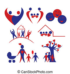 Collection of family, love, children  icons, logo