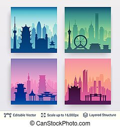 Collection of famous chinese city scapes.