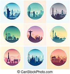 Collection of famous city capes. - Flat well known...