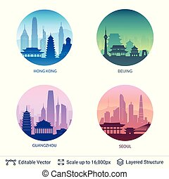 Collection of famous city scapes. - Flat well known ...