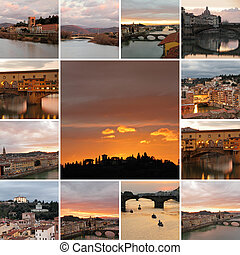 collection of fantastic images of Florence city at sunset time,