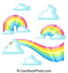 Collection of fantasy rainbow and clouds in sky