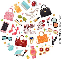 Collection of Fashion Accessories. Women Things