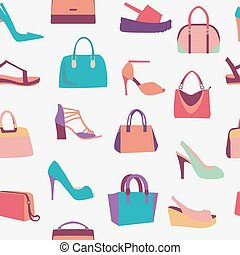 fashion Women bags handbags and High Heels shoes pattern