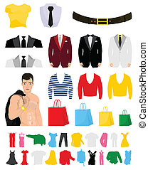 Collection of fashionable clothes for design. A vector illustration