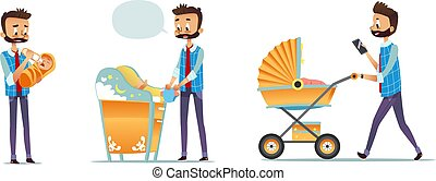 Collection of father taking care of child isolated on white background. Set of man feeding baby, changing diaper, carrying stroller. Super dad, modern fatherhood. Flat cartoon vector illustration.
