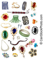 collection of feminine accessories isolated