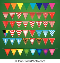 Collection of festive decorative flags for the holiday