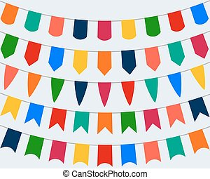 Collection of festive decorative flags for the holiday on a white background,