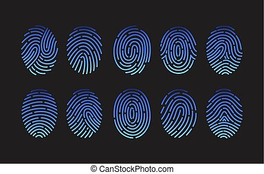 Collection of fingerprints of different types isolated on...