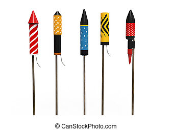 Collection of firework rockets, isolated on white background