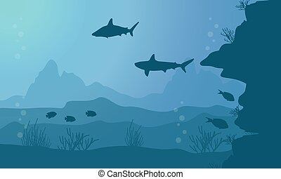 Collection of fish and coral reef on sea landscape