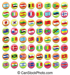 Collection of flag button design. Vector design.