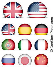 Collection of Flags Icons - Language Buttons - English, American English, Spanish, German, Portugal, Italian, French, Japanese, Russian, Chinese