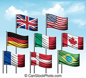 Collection of flags of some countries. Vector.