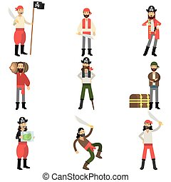 Collection of flat cartoon pirate characters in different situations, robbers and treasure hunters
