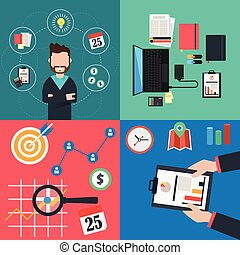 Collection of flat colorful business and finance concepts icons. Vector Illustration