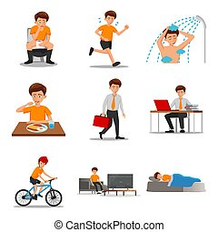 collection of flat design of man characters of routine in ...