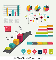 Collection of  flat infographic.