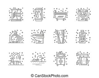 Collection of flat line bathroom vector icons