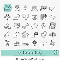 Collection of flat line e-learning icons.
