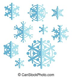 Collection of flat style vector snowflakes. Set of winter icons.