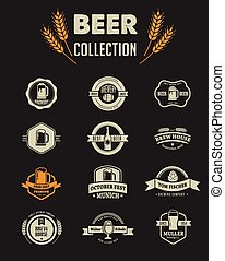 Collection of flat vector Beer icons and elements -...