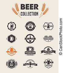 Collection of flat vector Beer icons and elements