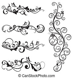 Collection of floral silhouettes - Collection of vintage...