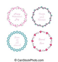 Collection of floral wreath with text