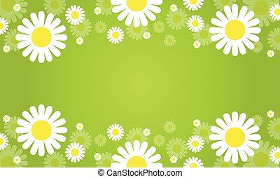 Collection of flower spring green background