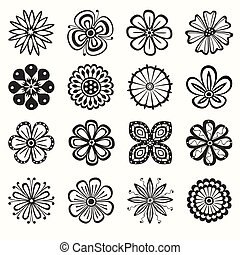 Collection of flowers - Collection of 16 different stylistic...