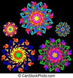 Collection of flowers in a kaleidoscope style with many elements.