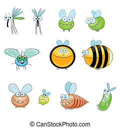 Collection of flying insects - collection of funny stylized...