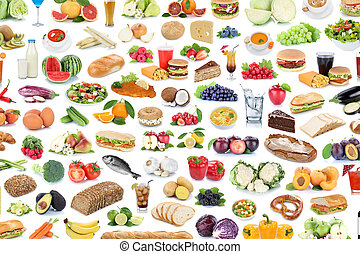 Collection of food and drink background collage healthy eating fruits vegetables fruit drinks isolated