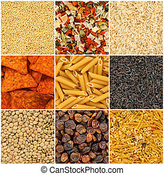 Food backgrounds. Rice, pasta, lentils, millet, dried vegetables, tea, noodles, chips, raisins.