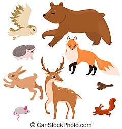 Collection of forest animals isolated on a white background. Vector graphics.