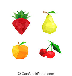 Collection of four abstract origami fruits