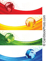Collection of four banners with globes. Vector illustration