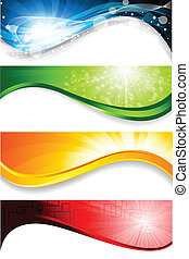 Collection of four bright banners. Vector illustration