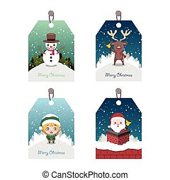 Collection of four colorful Christmas tags with characters