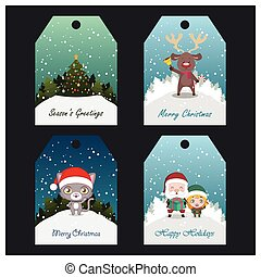 Collection of four colorful Christmas tags with festive text