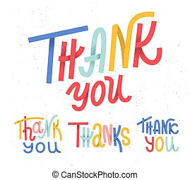 Collection of four custom colorful pieces of Thank you ...
