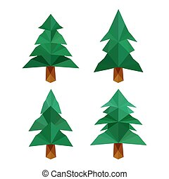 Collection of four different origami pine trees