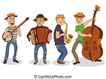 Collection of four different street musicians, isolated over white background.