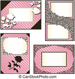Collection of four pink labels